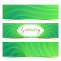 Colorful green waves banners set. Vector illustration template design.
