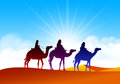 Colorful Group of Arab People with Camels Caravan Royalty Free Stock Photo