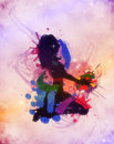 Colorful grunge dj girl illustration of a music background Stock Image