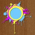 Colorful Grunge Frame On Woode...