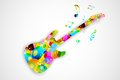 Colorful guitar illustration of playing musical tune Royalty Free Stock Photos