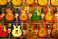 Colorful guitars for sale Royalty Free Stock Photo