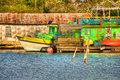 Colorful gulf coast tour boat at dock photographed on the texas Stock Images