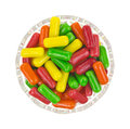 Colorful gum in glass bowl top view of a filled with assorted flavors of chewing Stock Photography