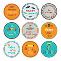 Colorful Halloween circle labels set with some messages on white background