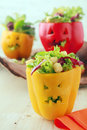 Colorful Halloween food with stuffed peppers Royalty Free Stock Photo
