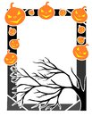 Colorful Halloween frame with pumpkins Royalty Free Stock Photo
