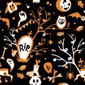 Colorful Halloween seamless vector dark background with owls, ghosts, bats, spiders, skulls and trees.