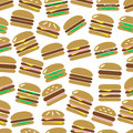 Colorful hamburgers types fast food modern simple icons color seamless pattern eps10 Royalty Free Stock Photo