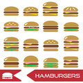 Colorful hamburgers types fast food modern simple icons eps10 Royalty Free Stock Photo