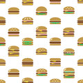 Colorful hamburgers types fast food modern simple icons seamless pattern eps10 Royalty Free Stock Photo