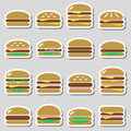 Colorful hamburgers types fast food modern simple stickers eps10 Royalty Free Stock Photo