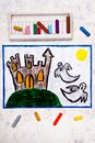 Colorful hand drawing: Old scary castle and two ghosts at night. Royalty Free Stock Photo