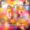 Colorful hand drawn Arabic lanterns with lights and party flags. Greeting card, invitation for Muslim commu Royalty Free Stock Photo