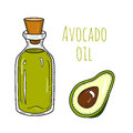 Colorful hand drawn avocado oil bottle