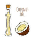 Colorful hand drawn coconut oil bottle