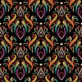 Colorful hand drawn damask seamless pattern ornaments Royalty Free Stock Photo