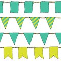 Colorful Hand drawn doodle bunting banners horizontal seamless pattern. Cartoon banner, bunting flags, border sketch. Bright Decor Royalty Free Stock Photo