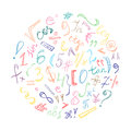 Colorful Hand Drawn Doodle Symbols and Numbers. Scribble Signs Arranged in a Circle. Royalty Free Stock Photo