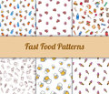 Colorful hand drawn  fast food seamless patterns set Royalty Free Stock Photo
