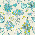 Colorful hand-drawn floral background. Seamless pattern.