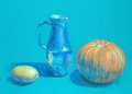 Colorful hand drawn illustration of different objects on turquoise background Stock Photography