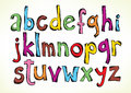 Colorful hand drawn illustration full set letters alphabet lower case isolated white Stock Photo