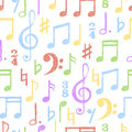 Colorful hand drawn music notes seamless pattern.