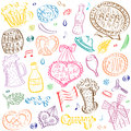 Colorful Hand Drawn Oktoberfest Symbols. Funny Drawings of Beer Cups, Hearts, Pretzel, Sausage, Barrel isolated on White. Royalty Free Stock Photo