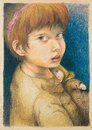 Colorful hand drawn portrait of a young girl playing with her doll Stock Images