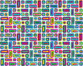Colorful Hand Drawn Retro Pattern Stock Photography