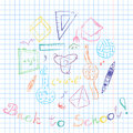 Colorful Hand Drawn School Symbols. Children Drawings of Ball, Books,Pencils, Rulers, Flask, Compass, Arrows Arranged in a Circle Royalty Free Stock Photo