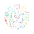 Colorful Hand Drawn School Symbols. Children Drawings of Ball, Books,Pencils, Rulers, Flask, Compass, Arrows Arranged in a Circle. Royalty Free Stock Photo