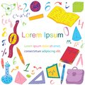 Colorful Hand Drawn School Symbols. Children Drawings of Ball, Books,Pencils, Rulers, Flask, Compass, Arrows with Place for Text i Royalty Free Stock Photo