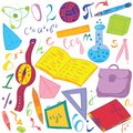 Colorful Hand Drawn School Symbols. Children Drawings of Ball, Books,Pencils, Rulers, Flask, Compass, Arrows Royalty Free Stock Photo