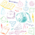 Colorful Hand Drawn School Symbols. Children Drawings of Ball, Books,Pencils, Rulers, Flask, Compass, Arrows. Royalty Free Stock Photo