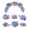 Colorful hand drawn set of floral bouquets. Vector ornament wreath decoration. Flowers and herbs doodle elements