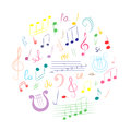 Colorful Hand Drawn Set of Music Symbols. Doodle Treble Clef, Bass Clef, Notes and Lyre Arranged in a Circle