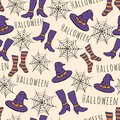 Colorful hand drawn vector halloween seamless pattern. Includes witches hat, stockings, shoes and spider webs.