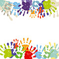 Colorful hand print border Stock Photography