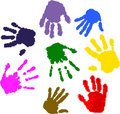 Colorful hand prints Royalty Free Stock Image