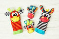 Colorful hand puppets and wrist pals funny toys vibrant colors Royalty Free Stock Images