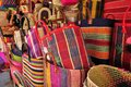 Colorful handbags traditional bags of madagascar made of raffia fair trade Stock Photo