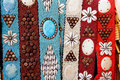 Colorful handcrafted belts with sea shells Royalty Free Stock Photo
