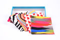 Colorful handkerchief folded into a square on white background Stock Image