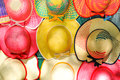 Colorful handmade hats by the yucatan mayans descendants Stock Photo