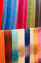 Colorful handmade shawls in loas market Royalty Free Stock Image
