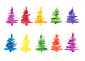 Colorful handpainted Christmas trees Royalty Free Stock Photo