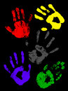 Colorful handprints of childs Royalty Free Stock Image