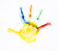 Colorful handprints imprint child hands painted in different colors Royalty Free Stock Photos